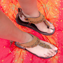 Load image into Gallery viewer, Afrix Style Sandals Gold Bead Sandals