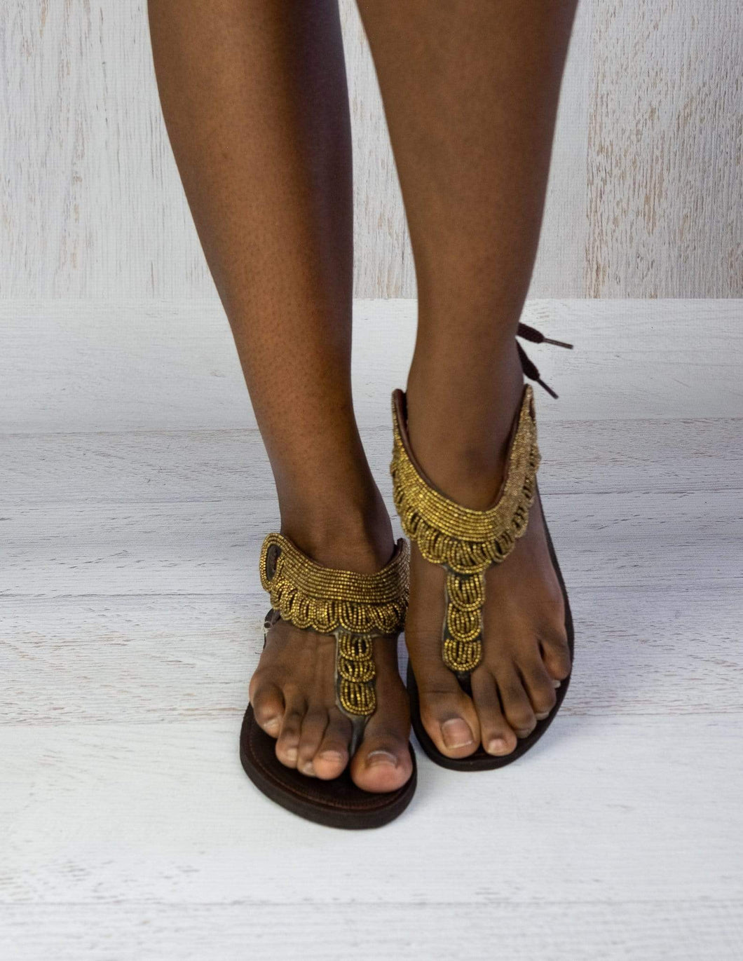 Afrix Style Sandals Gold Bead Sandals