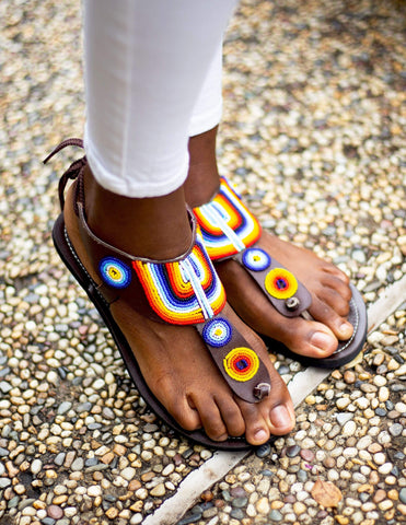 Afrix Style Sandals Rainbow Coloured Sandals