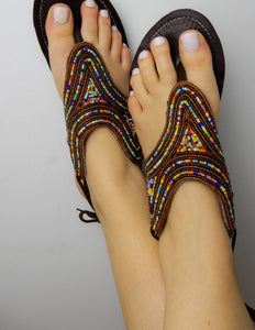 Afrix Style Scattered Gold Sandals
