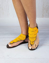 Load image into Gallery viewer, Afrix Style Shoes 38 (size 7) Yellow Summer Sandals