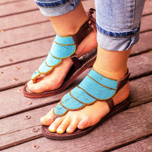 Load image into Gallery viewer, Afrix Style Shoes Summer Sandals Blue