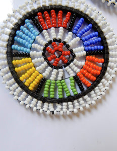 Afrix Style White Colourful Beaded Earrings