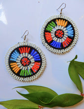 Load image into Gallery viewer, Afrix Style White Colourful Beaded Earrings