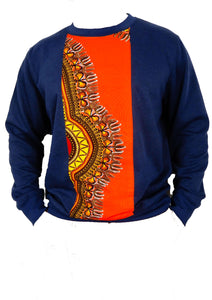 Blue winter pullover for men has an orange strip of african fabric down the middle.