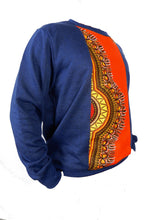 Load image into Gallery viewer, Side view of blue winter pullover for men has an orange strip of african fabric down the middle.