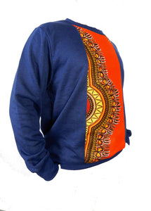 Side view of blue winter pullover for men has an orange strip of african fabric down the middle.
