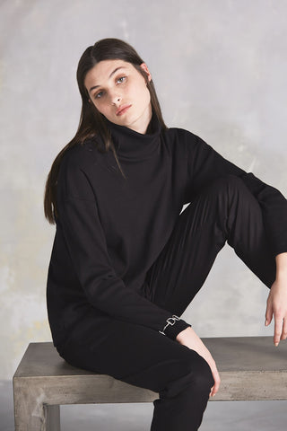 Building Block Rib Roll Neck Top