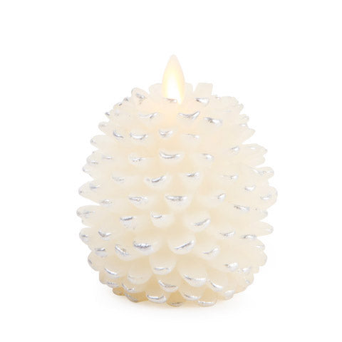 "4"" Luminara® Flameless Candle - Pine Cone Shape - White with Silver Accent"