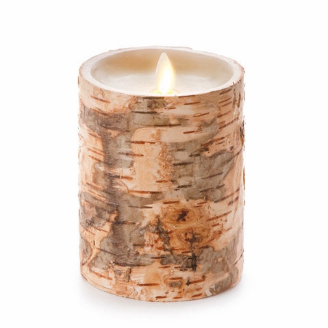 Luminara® Unscented Flameless Pillar Candle Embedded with Birch - 4 x 5 in