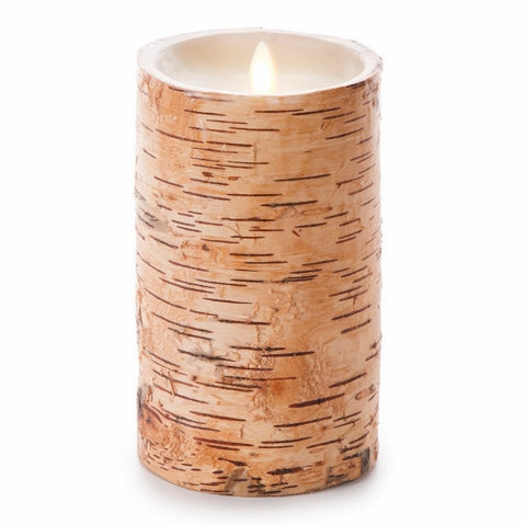 Luminara® Unscented Flameless Pillar Candle Embedded with Birch - 4 x 7 in