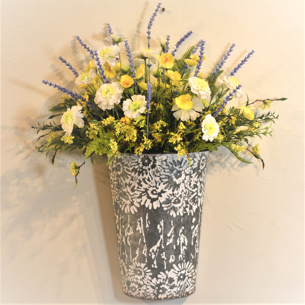 "24""H x 20""W Stamped Wall Tin with White & Yellow Marigolds, Yellow Buttercups and Lavender"