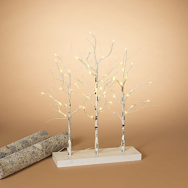 "23.6""H Electric Birch Tabletop Tree on base with Three Branches, 56 Warm LED Lights"