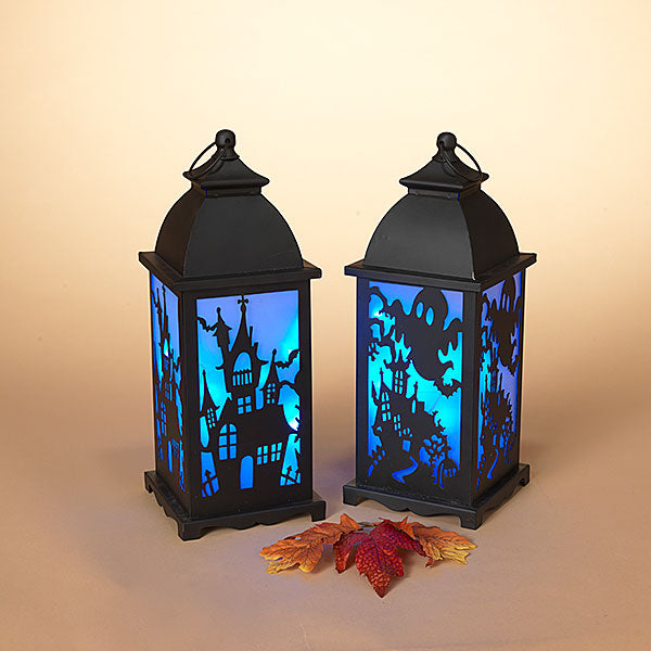 "Your Choice - 14.1""High Lighted Halloween Lantern with Sensor Sound Effects, Haunted House or Witch"