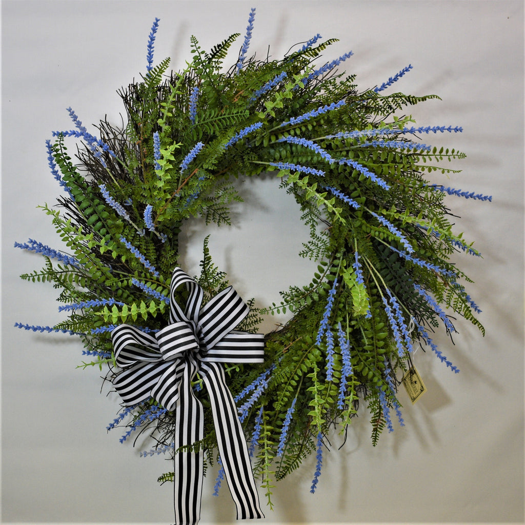 "25""D Twig Wreath with Mixed Ferns, Bright Blue Lavender, Eucalyptus and a Navy and White Bow"