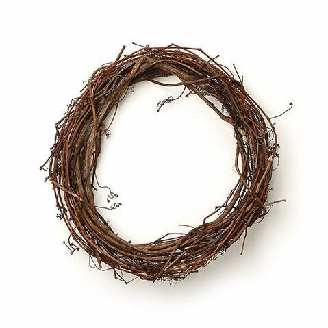 Round Grapevine Wreath: 18 x 2 inches