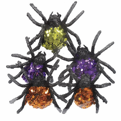Glitter Spiders: 2.5 x 2 inches, Three Bags of Five in Green, Orange and Purple