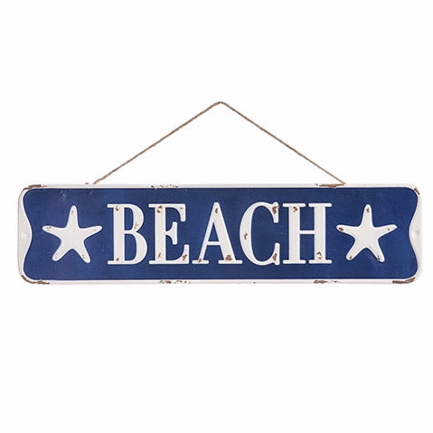 "Navy Blue & White Beach Sign: 23"" wide x 6"" high"