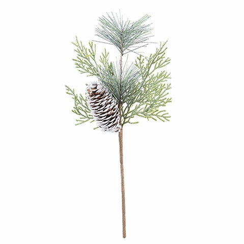 "Cedar and Pine Pick with Natural White-Tipped Pine Cone, 5""w x 12""H - Quantity 3 - Permanent Botanical"
