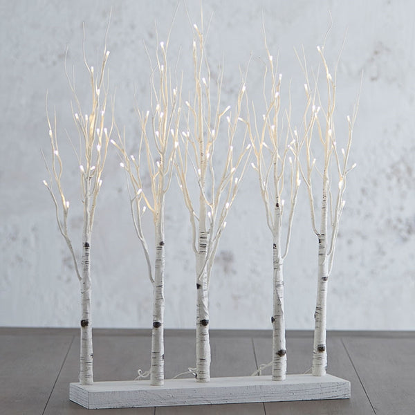 "30"" High Lighted Birch Grove with  5-branches and 88-Warm LED Lights, Steady or Twinkle Function"