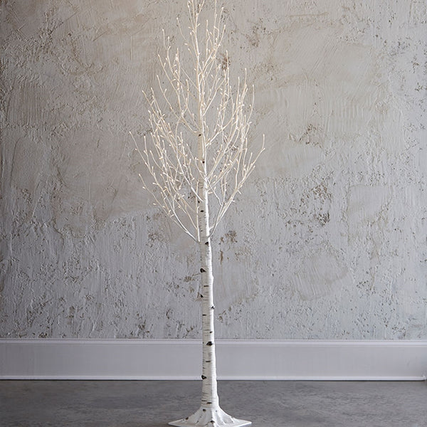 7' Lighted Birch Tree with 280-LED Warm Lights, Steady or Twinkle Functions