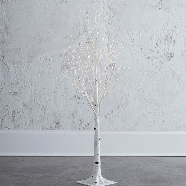 4.5 Ft. Lighted Birch Tree with 128 Warm LED Lights, Steady or Twinkle Functions