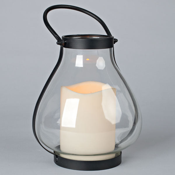 10.25 Inch School House Lantern with LED Flamless Candle and Timer
