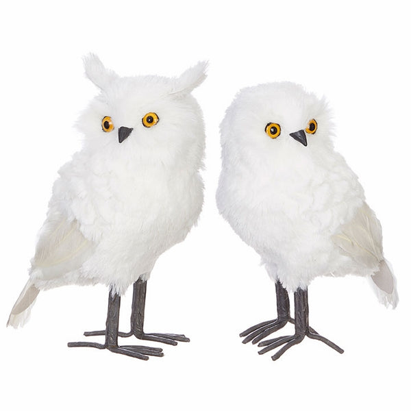 "Your Choice, 11"" High White Owl with Left or Right View"
