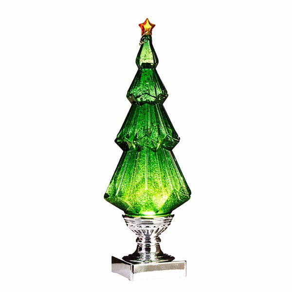 "14"" High Green LED Swirling Green Sparkle Tree"
