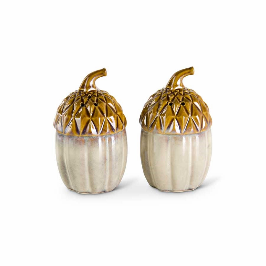 "3.6"" high Brown and Tan Glazed Ceramic Acorn Salt and Pepper Shaker"
