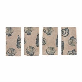 Set of 4, Printed Shell Chambray Napkins