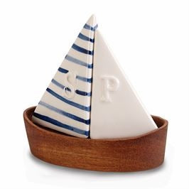 3-Piece Sailboat  Ceramic Salt and Pepper Shakers, Hand Painted with Wooden Base