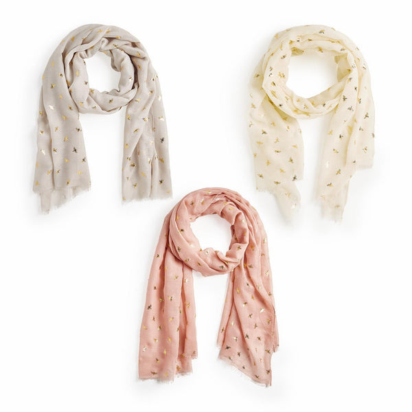 Your Choice, Bee Pattern Scarf in Three Colors