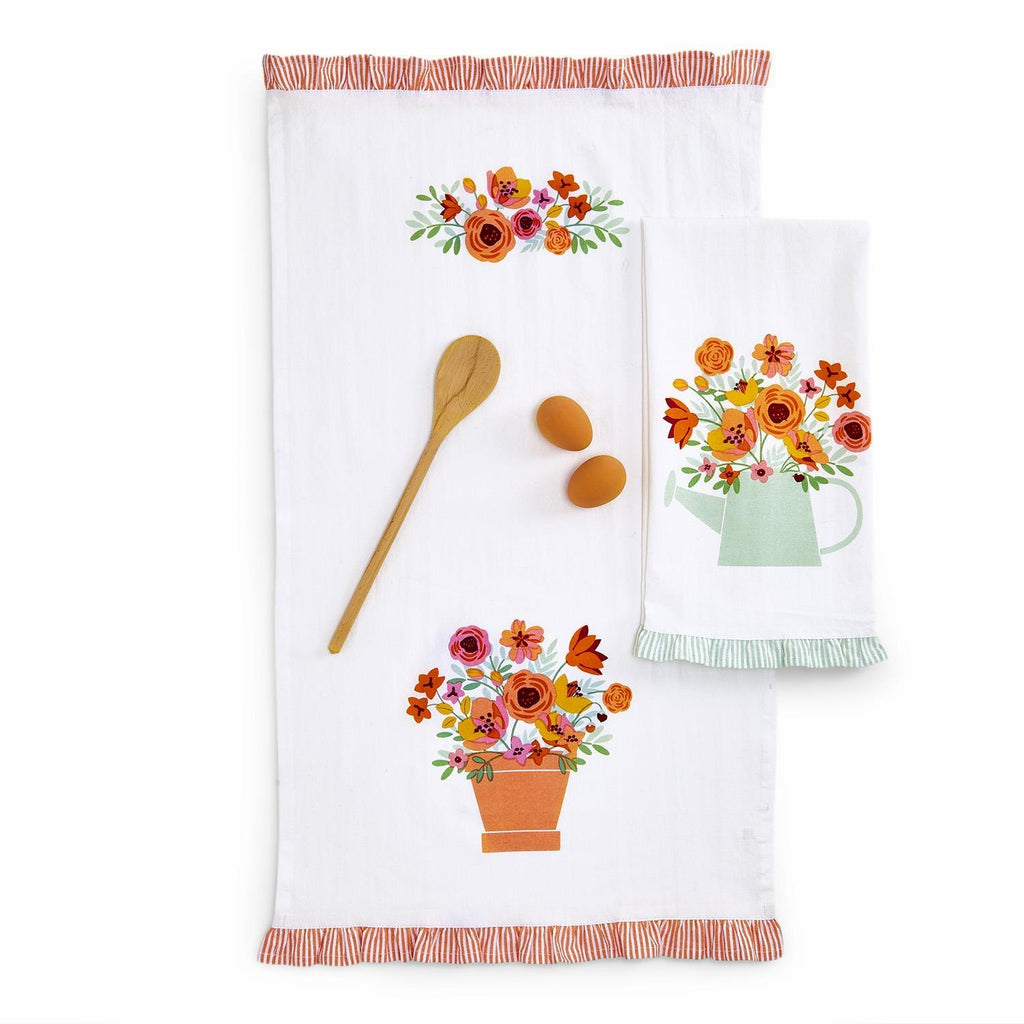 Floral Garden Dish Towel, Your Choice, 2 Designs: Flower Pot and Watering Can - Cotton