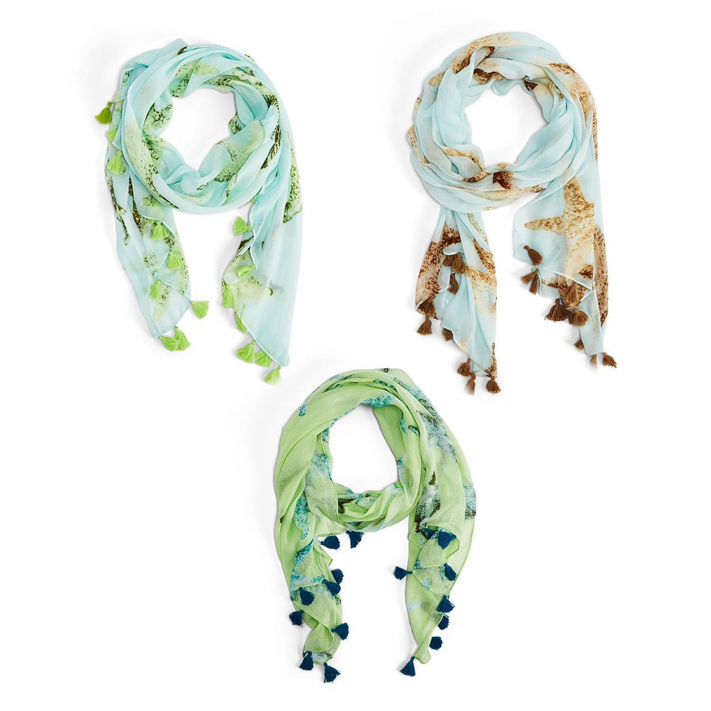 Your Choice, Starfish Print Scarf with Tassels, Ocean Blue, Aqua or Seafoam