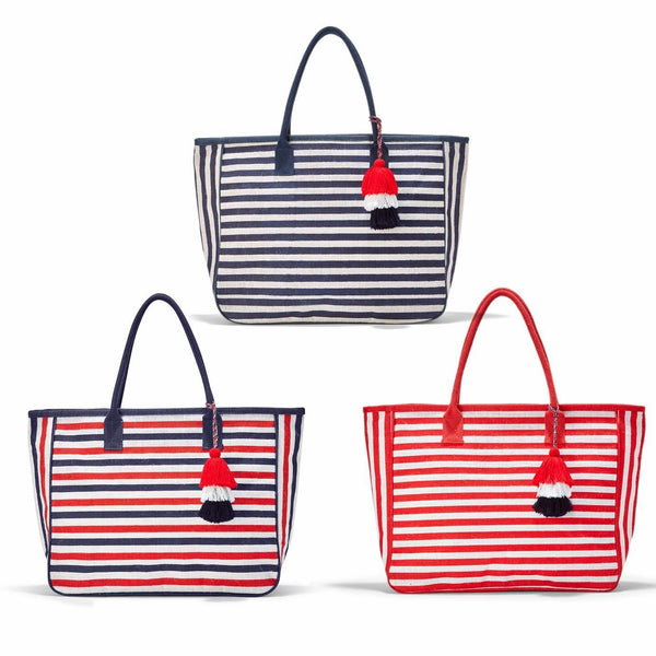Your Choice, Jute,  Stripe Tote Bag in Three Colors with Tassel Accent and Zipper Pocket