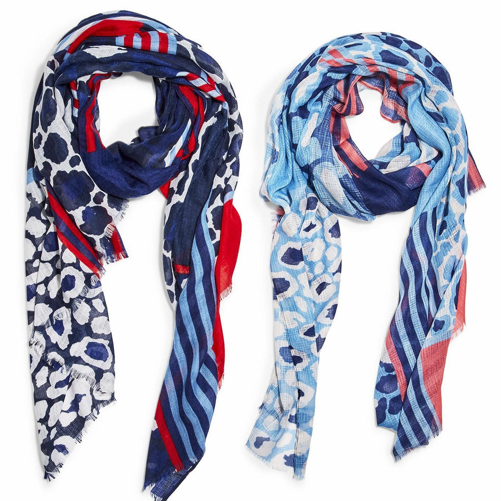Your Choice, Red, White & Blue Scarf or Blue, White and Red Scarf with Fringe Trim Edge