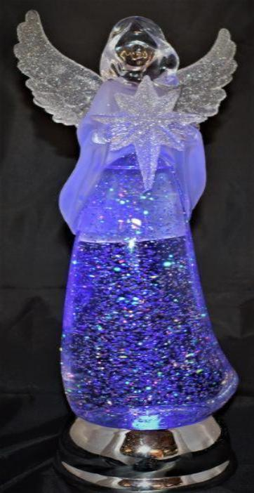 "13""H Acrylic, Color-Changing Angel, LED Lit Tabletop Decor"