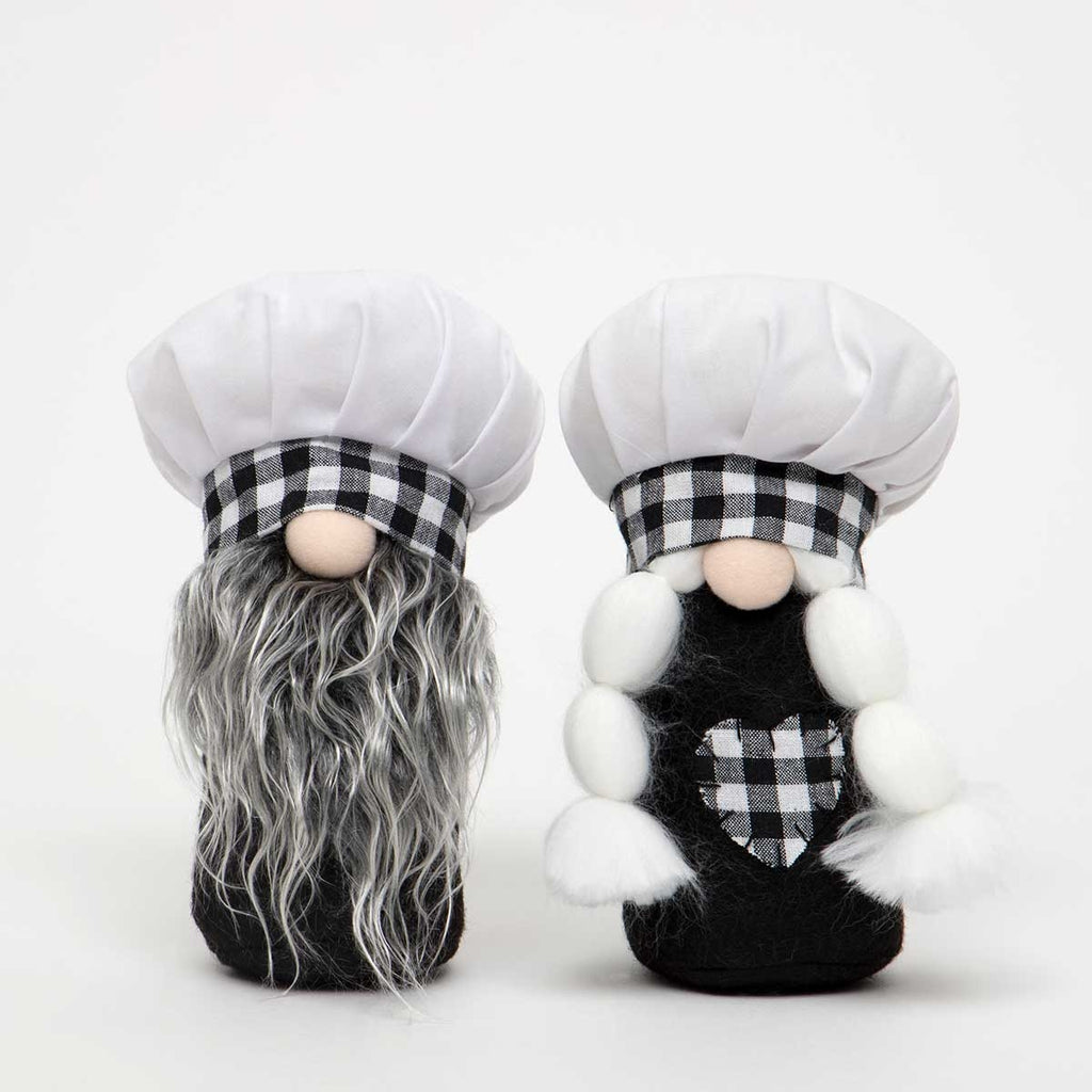 Your Choice, Chef or Chefette Gnomes in Black and White