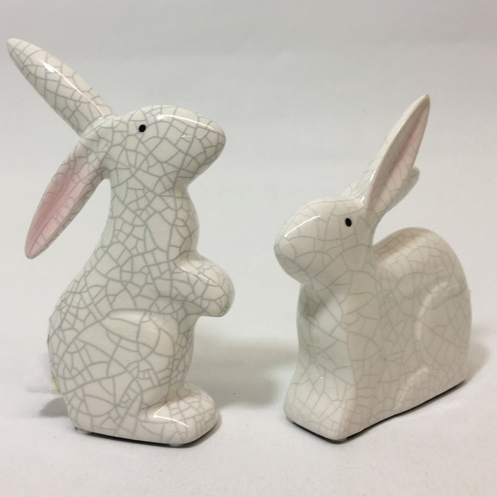 Set of Two, Crackle-Look Finish Ceramic Bunnies