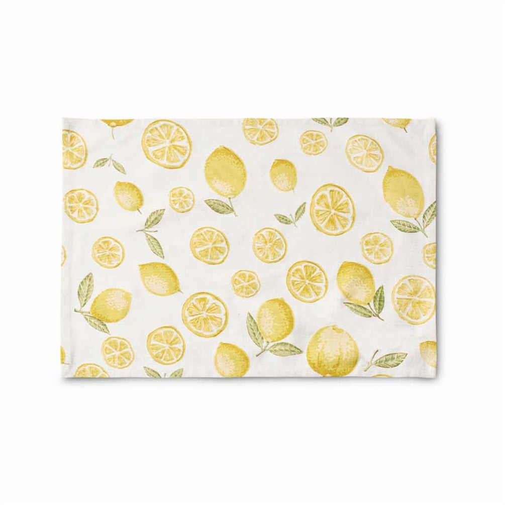 "Set of Two  13.25""H x 18.75"" W Cotton Lemon Placemats"