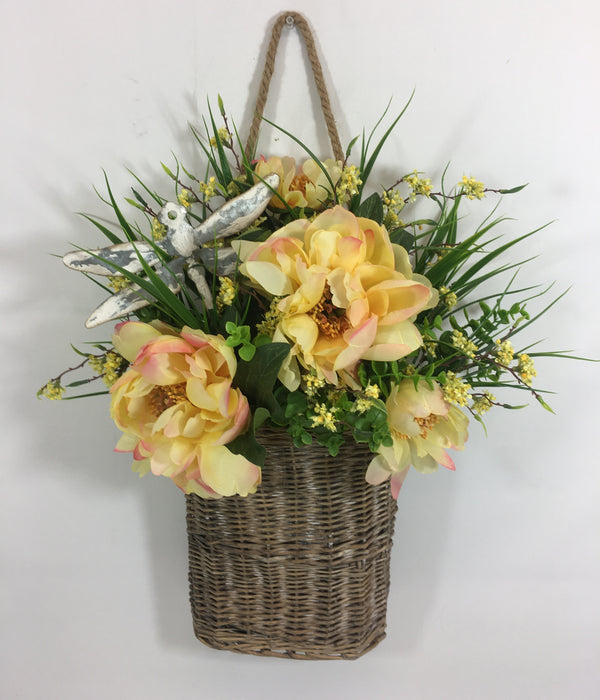 "25""H x 16"" Wide Grey Willow Basket with Yellow Peonies, Grasses and a Metal Dragon Fly"
