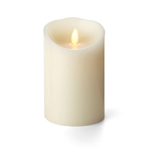 "3.5"" x 7"" Realistic Flame,  Luminara Candle, Ivory, Vanilla Scented, Battery Operated"