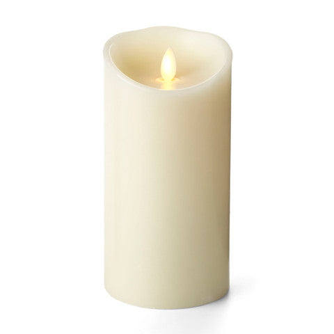 "3.5"" x 7"" Realistic Flame,  Luminara Candle, Ivory, Battery Operated"