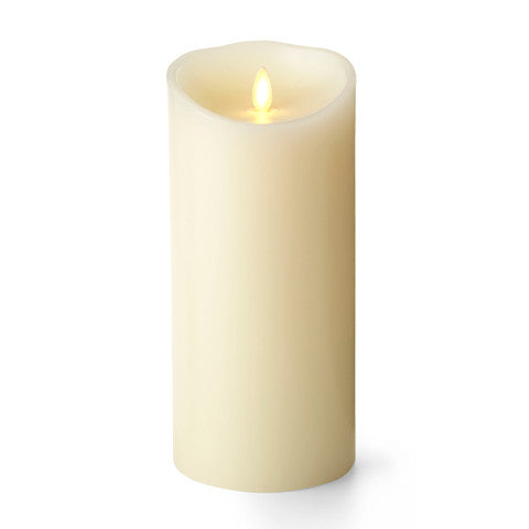 "4"" x 9"" Realistic Flame,  Luminara Candle, Ivory, Battery Operated"