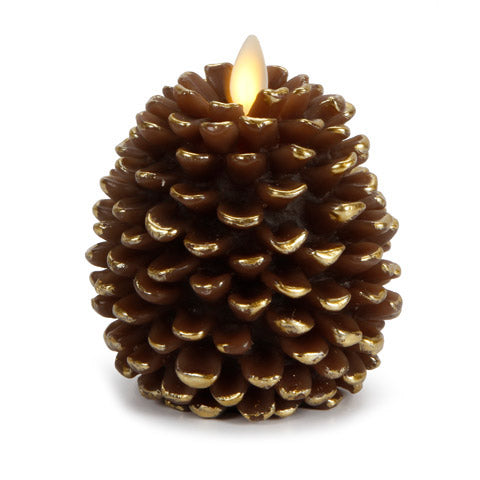 "4"" Luminara® Flameless Candle - Pine Cone Shape - Brown with Gold Accents"