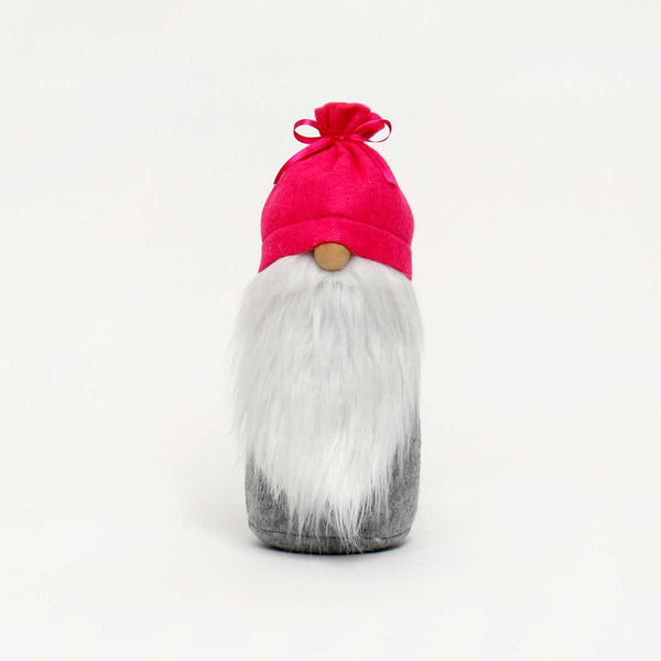 McGnome Gnome with Grey Wool Body and Bright Pink Tied Hat