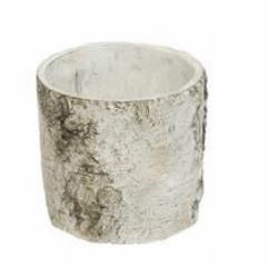 White Birch-Look Planters, Crafted from Resin in Round or Rectangle
