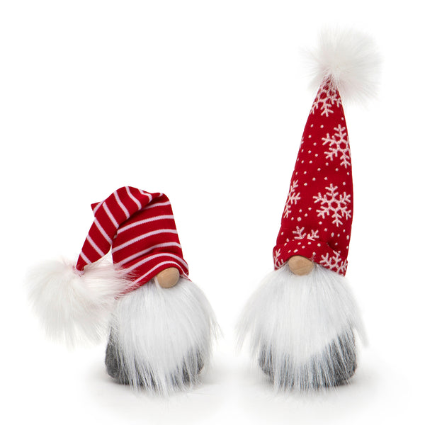 "Your Choice, 8"" Gnome with White Beard and a Red and White Stripe or Red and White Snowflake Hat"