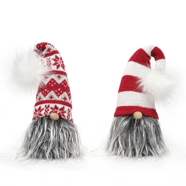 "Your Choice, 12"" Sitting Gnome with Grey Beard, Red & White Stripe or Snowflake Hat with Pom Pom"